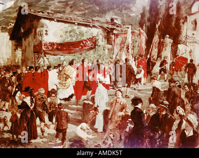 Bellas artes, Degas, Edgar (1834 - 1917), la pintura, la procesión en Tirol, óleo sobre lienzo, Strassburg Museum, copie después Adolf von M
