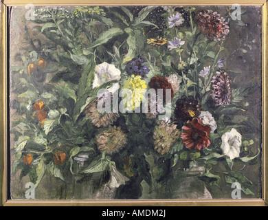 Bellas artes, Delacroix, Eugene (1798 - 1863), pintura, stil vida con flores, circa 1849, óleo sobre cartón, Kunsthalle Foto de stock