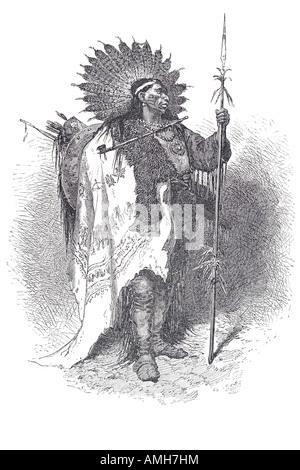 Ilustración de un jefe indio americano nativo vista lateral del ...