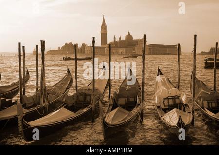 Las góndolas en el sol de primera hora de la mañana. Venecia Italia