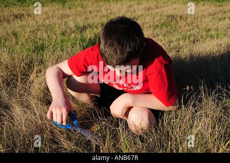 Un joven se corta el césped el lento camino de una hoja a la vez. Simboliza el concepto de difícil detalle de trabajo o una pérdida de tiempo.