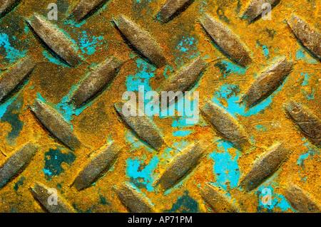 Pintura en turquesa Rusted metal estampadas. Foto de stock