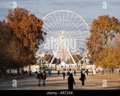 Muy temprano en la mañana en el parque Jardin des Tuileries, Paris, Francia, Europa, hacia la rueda grande, Obelisco y el Arc de Triomphe