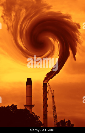 La cuestión del calentamiento global o cambio climático con humo de fábrica en sienna quemado