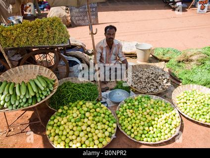 Abrir mercado en el camino al pueblo de Lancha en Goa la autopista vendiendo verduras y frutas para pasar tráfico concurrido y los residentes locales.