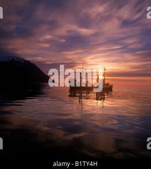 Sobre la caza de ballenas en barco turístico, Husavik, Islandia