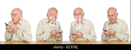 Una secuencia compuesta de un anciano frustrado intentando texto o utilizar el teléfono móvil con los pequeños botones y números.