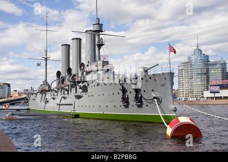 Crucero Aurora rusa Memorial construido 1902 San Petersburgo, Rusia Foto de stock