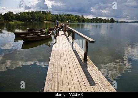 En Jetty Farup Farup Sø (lago), cerca de Jelling, Jutlandia, Dinamarca