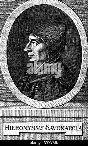 Girolamo Savonarola, 21.9.1452 - 23.5.1498, clérigo Italiano, retrato, después del grabado, circa 1750, Copyright del artista no ha de ser borrado