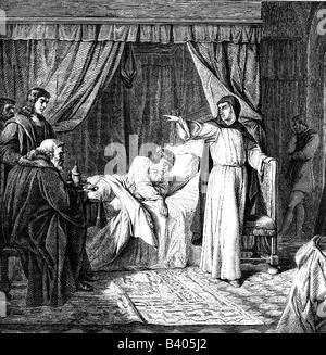 Savonarola, Girolamo, 21.9.1452 - 23.5.1498, clérigo italiano, longitud completa, en el lecho de muerte de Lorenzo de Medici, 1492, Historia de la pintura, grabado después de la Historia de la pintura, siglo 19,