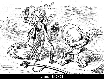 Münchhausen, Barón Karl Friedrich Hieronymus, Freiherr von, 11.5.1720 - 22.2.1797, escena de sus aventuras: Reparación de caballos, grabado de madera siglo 19,