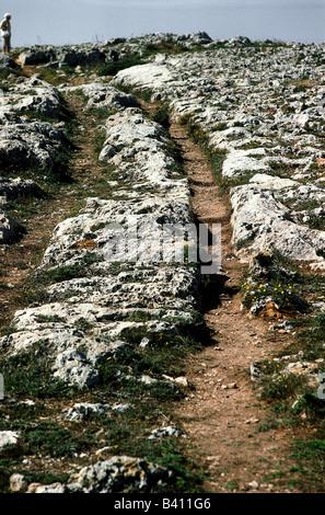 Geografía / viajes, Malta, Clapham Junction, misteriosos carros de ruts en roca, pista, ,