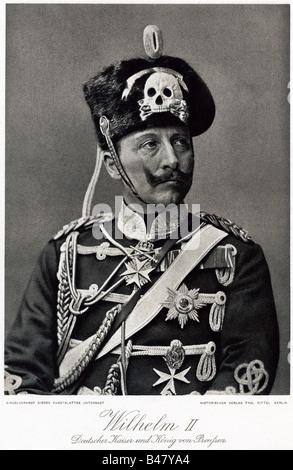 Guillermo II, 27.1.1859 - 4.6.1941, emperador alemán 15.6.1888 - 9.11.1918, la mitad de la longitud, impresión del cobre después de la fotografía, siglo 19,