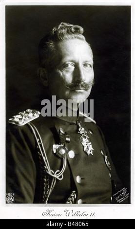 Guillermo II, 27.1.1859 - 4.6.1941, emperador alemán 15.6.1888 - 9.11.1918, retrato, postal militar, 1915, ,