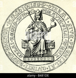 Ottokar II., circa 1232 - 26.8.1278, Rey de Bohemia 23.9.1253 - 26.8.1278, sello, grabado, siglo 19, premislid, Foto de stock