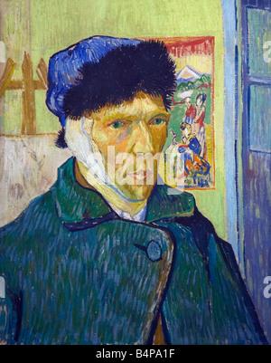 Autorretrato con oreja vendada pintado por Vincent van Gogh 1889 Instituto Courtauld Gallery Somerset House Londres Foto de stock