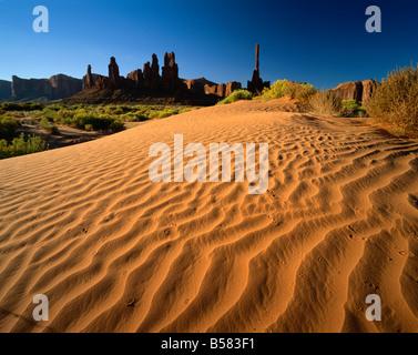 Tótem y Sand Springs, Monument Valley Tribal Park, Arizona, Estados Unidos de América, América del Norte