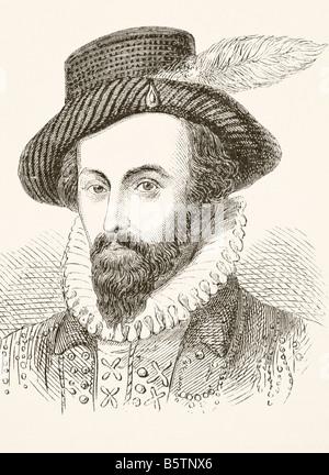 Sir Walter Raleigh circa 1554 a 1618 aventurero inglés y escritor Foto de stock