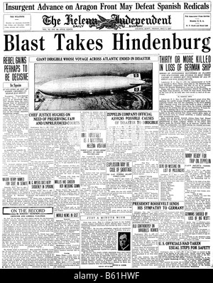 Primera página de un periódico estadounidense de 1937 sobre el desastre del Hindenburg Foto de stock
