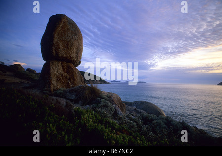 Rocas de granito cerca de Whisky Bay, Wilsons Promontory National Park, Victoria, Australia Foto de stock