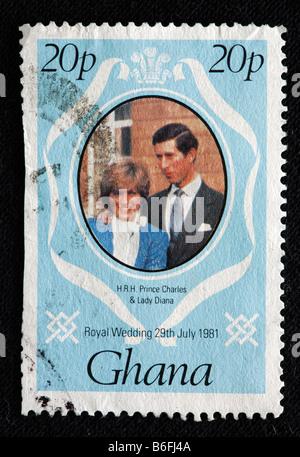 La boda del príncipe Carlos y Lady Diana el 29 de julio de 1981, el sello, Ghana, 1981 Foto de stock