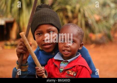 Hermanos en Lesotho Foto de stock