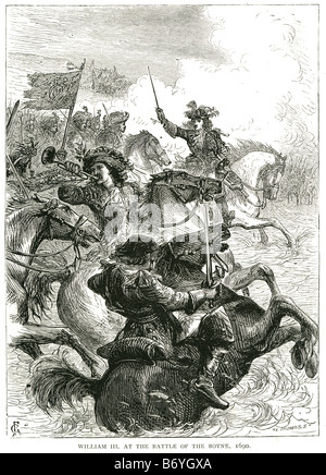 Guillermo III en la batalla del Boyne 1690 Cath na Bóinne Foto de stock