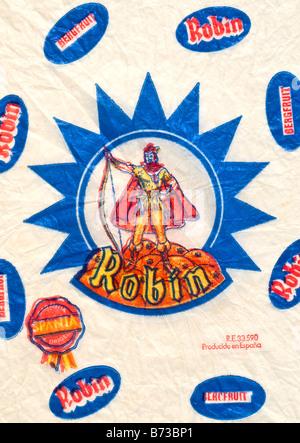 Impreso ephemera / envoltura de cítricos desde España - Robin Hood ilustración con un pañuelo de papel. Foto de stock