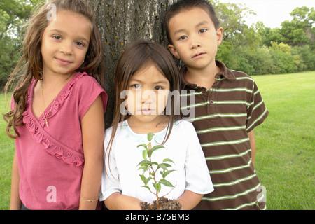 Cinco años de edad, niña sostiene árbol pequeño, junto a la edad de siete años el niño y niña, Winnipeg, Canadá Foto de stock