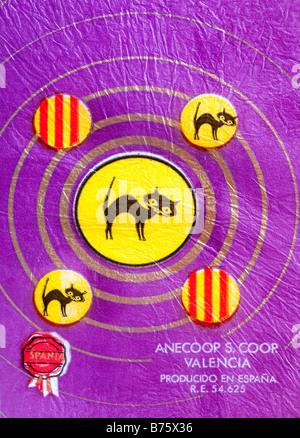 Impreso ephemera / envoltura de cítricos de España - Black Cat ilustración con un pañuelo de papel. Foto de stock