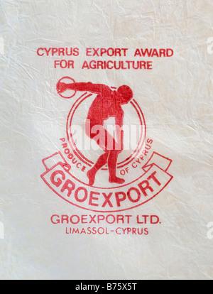 Impreso / Ephemera cítricos wrapper en Chipre - Discóbolo ilustración con un pañuelo de papel. Foto de stock