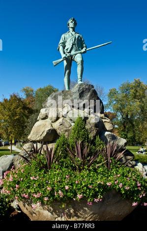 Minute Man Escultura Battle Green, Lexington, MA. Sitio de los primeros disparos de la Revolución Americana.