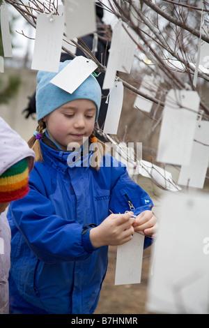 Deseos para el futuro dejados por personas de visita en Washington para la inauguración presidencial de Barack Obama