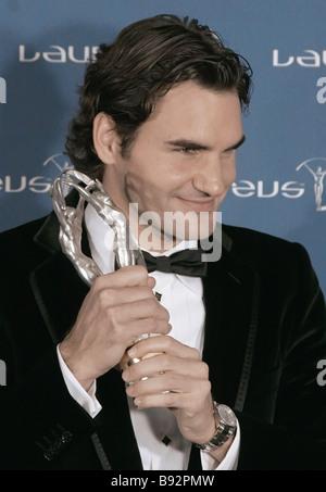 El tenista suizo Roger Federer los Laureus Deportista del Año en la novena ceremonia anual de concesión Laureus World Sports
