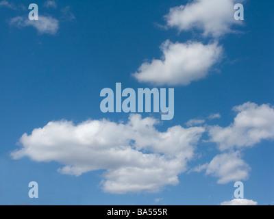 Las nubes cúmulos en un cielo azul profundo