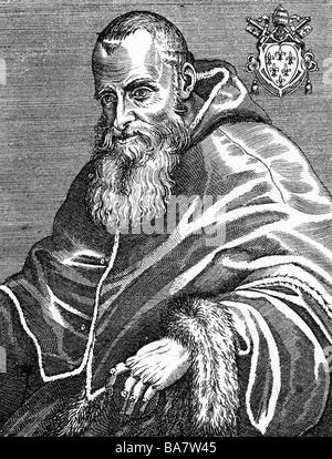 Pablo III (Alessandro Farnese), 29.2.1468 - 10.11.1549, Papa 13.10.1534 - 10.11.1549, de longitud media, grabado en cobre, siglo XVI, , Artist's Copyright no ha de ser borrado
