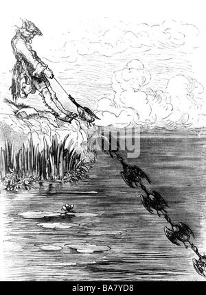 Münchhausen, Barón Karl Friedrich Hieronymus, Freiherr von, 11.5.1720 - 22.2.1797, escena de sus aventuras: Perro de pato, grabado en madera siglo 19,