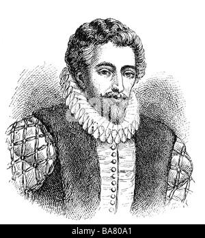 Raleigh, Walter, circa 1554 - 29.10.1618, navegador inglés, retrato, grabado en madera, siglo XIX, , Foto de stock