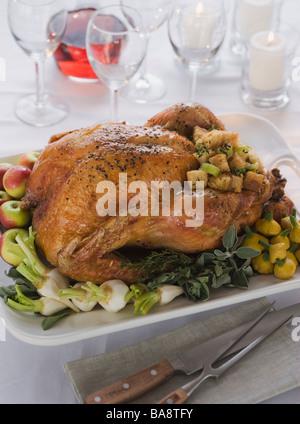 La cena de Acción de Gracias en la mesa