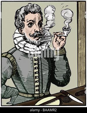 Raleigh, Walter, alrededor de 1554 - 29. 10.1618, navegador inglés, pipa de fumar, madera cortada, siglo 17, color Foto de stock