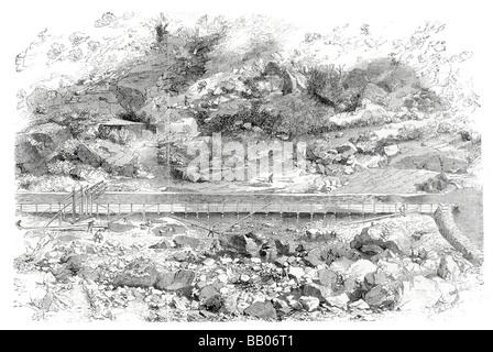 Distrito de oro californiano kanaha bar en un afluente del saxramento donde el oro fue encontrado primero mineros que trabajan en la cama