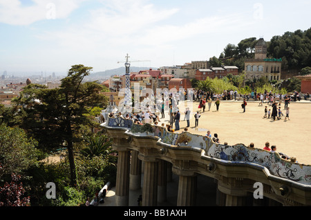 Antoni Gaudis Parc Güell en Barcelona España