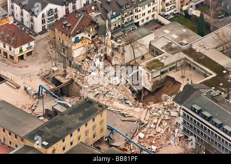 Vista aérea, derrumbe del Archivo Histórico de la ciudad de Colonia, Colonia, Renania del Norte-Westfalia, Alemania, Europa Foto de stock