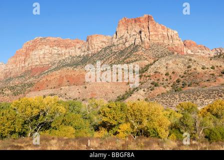 El Vigilante, Springdale, otoño de humor en la entrada sur del Parque Nacional de Zion, Utah, EE.UU. Foto de stock