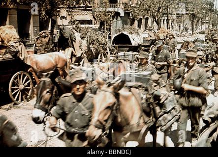 Eventos, Segunda Guerra Mundial / Segunda Guerra Mundial, Rusia 1941, Rostov sobre Don, tropas alemanas de montaña entrando a la ciudad, octubre de 1941,