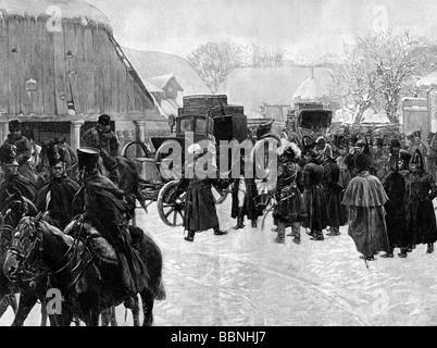 Napoleón I, 15.8.1769 - 5.5.1821, emperador de los franceses 1804 - 1815, escena, dejando su ejército, en Smorgoni, Rusia, 5.12.1812, grabado de madera, siglo 19,