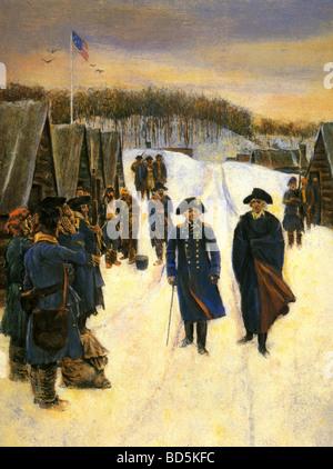 Barón Friedrich von Steuben en izquierda y George Washington con los soldados en Valley Forge en 1777