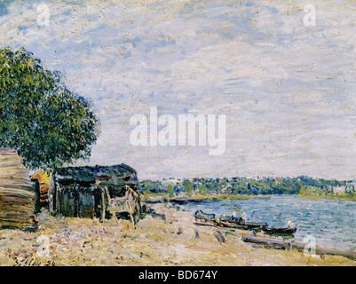 Bellas artes, Sisley, Alfred (1839 - 1899), pintura, 'Saint Mammes', 1884, Musée d'Art et d'Histoire, Geneve, Francés, impressi