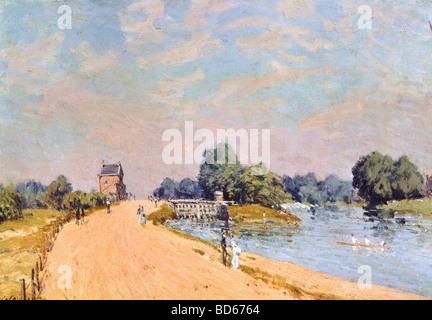 Bellas artes, Sisley, Alfred (1839 - 1899), pintura, 'La carretera' en Hampton, 1874, óleo sobre lienzo, 38,8 x 55,4 cm, Neue Pinakoth